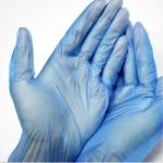 Luvas em Vinil Azul M (100 UNI)