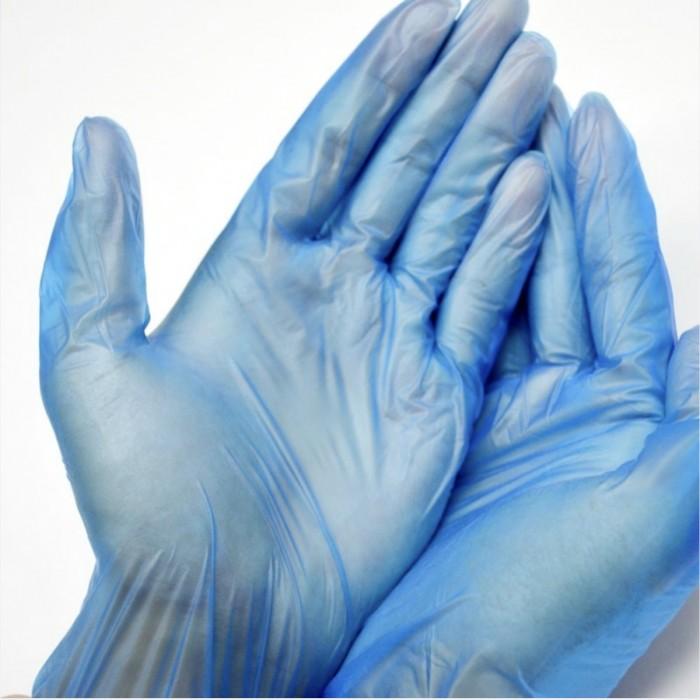 Luvas Descartáveis em Vinil Azul M (100 UNI)